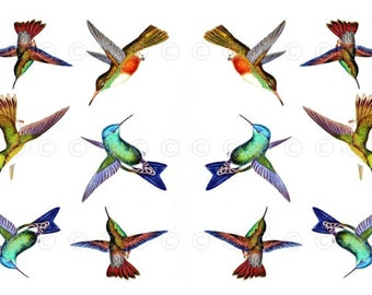 Hummingbird Water-Slide Decals, Hummingbird Wedding and Party Decals, Decorate Flame-less Candles, Soap, Glass, Home Decor, Furniture etc...