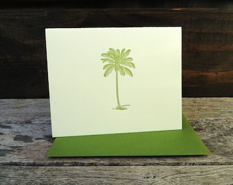 Coconut Palm Tree Letterpress Card