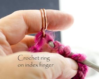 Crochet ring, knitting ring, arthritis ring, copper ring, crochet gift ideas, knitting gift ideas, crochet accessories, birthday gifts