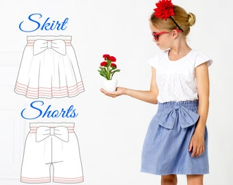 EASY Girls Skirt Pattern, Shorts Pattern, High Waisted Shorts pattern, High Waisted Skirt Pattern, Childrens Sewing Patterns pdf, PAISLEY