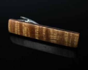 High Grade Curly Koa Wood Tie Clip / Tie Bar / by wood.wool.stone