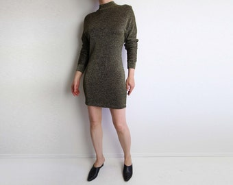 VINTAGE Dress Metallic Mini Dress 1980s Longsleeve Gold Black Medium