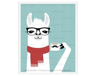 77J Modern Animal Art - White Llama with Red Scarf Drinking Coffee Wall Art - Llama Drawing - Funny Farm Animal - Animal Wearing Eyeglasses