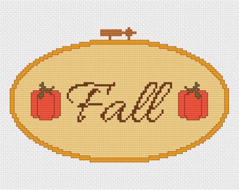 Fall Embroidery Hoop Cross Stitch Pattern