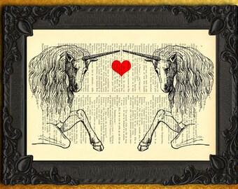 unicorn art print, unicorn dictionary art print, printmaking