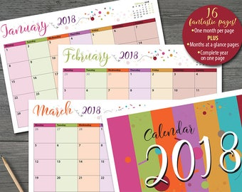 2018 Monthly Calendar PLUS extras 16 printable pages 'Tutti Frutti' theme INSTANT DOWNLOAD