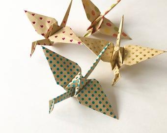 5 Brown Paper Cranes (5)