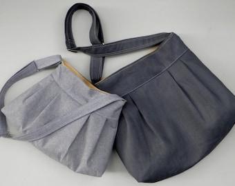 Grey Messenger Bag SET -  Large and Medium Bags