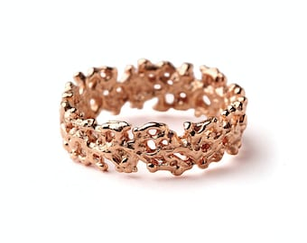 CORAL Rose Gold Wedding Band Ring, Men's Wedding Band, Women's Wedding Band, Rose Gold Ring Band, Mothers Day Gift