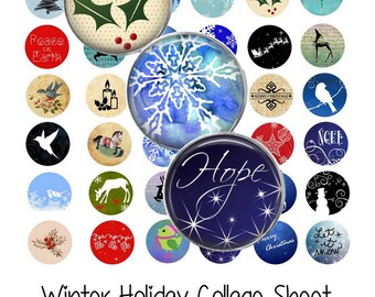 Winter Holiday Collage Sheet - Instant Download - Digital Collage Sheet - 1 Inch Circles