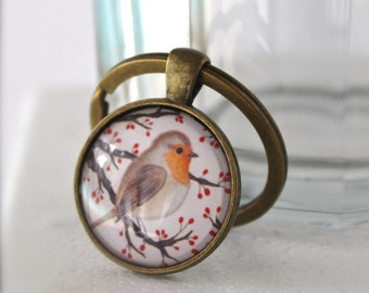 Bird keychain. Gift for women her. Womens gift. Robin bird art keychain. Robin keyring. Bird gift. Keychain for women. Winter bird keychain.