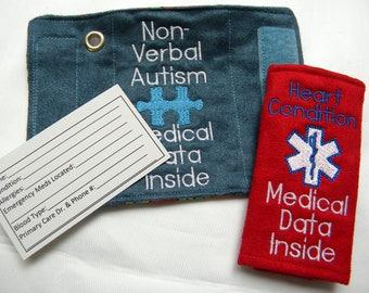 Diaper Bag, Medical Alert Purse Tag, Medical Information Tag, Medical Information Key Tag, Medical Alert Bracelet, Medical Alert Bicycle Tag