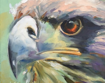 hawk // original oil painting // bird painting // bird art // wall art // hawk art // hawk painting // coopers hawk painting