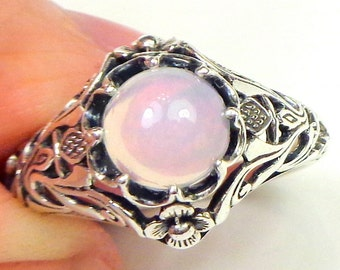Sz 7.75,Welo Opal Ring,Sterling Silver Ring,Ethiopian,Semi-transparent,Pastel Color Play, Lavender,Peach,Yellow,Pink,Ornate Ring OOAK