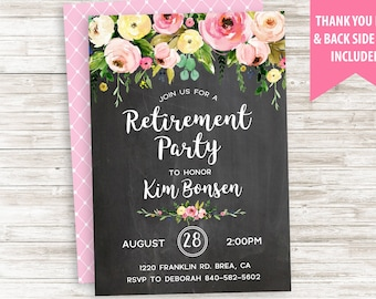 Retirement Party Invitation Invite Watercolor Floral Flowers Chalkboard Digital Personalize 5x7