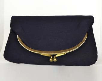 Vintage Navy Fold Over Kiss Lock Clutch Purse