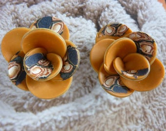 DUO OF CREATION CARAMEL FIMO FLOWERS AND PATTERNS.