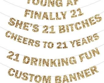 21st birthday Glitter Banner - 21st Birthday Banner, Photo Prop, Birthday Banner Glitter Banner