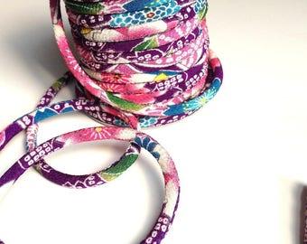 cord 4mm, Chirimen Japanese, pattern cherry blossom, violet (C3007-4)