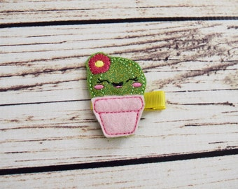 Handcrafted Little Cactus Glitter Feltie Clip - Cactus Baby Girl Bow - Cute Toddler Hair Clip - Sparkly Hair Clip - Cactus Desert Hair Clip