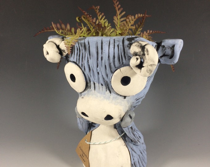 This Charming Young Ram // Succulent Planter // Animal Pot // Ceramic // Pottery // Handmade // One of a Kind // Hand Painted // Small //