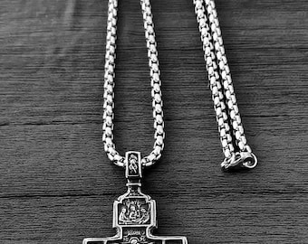 Orthodox cross etsy christian orthodox crucifix jesus russian cross pendant stainless steel gift silver color aloadofball Image collections