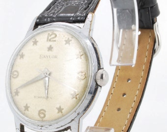 Baylor vintage automatic (self-winding) Starmatic wrist watch, 17 Jewels, heavy chrome & stainless steel water resistant case