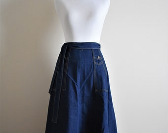 1970's Vintage Denim Maxi Wrap Skirt | Women's XS Size 0 | Body Lingo Tie Skirt with Pockets