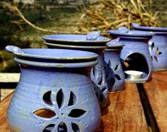 Blue essential oil diffuser, essential oil burner, oil warmer, ceramic room fragrance diffuser, essential oil aromatherapy