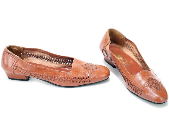 Brown 40 Vintage Retro Ballerinas size US EUR Slide Style Shoes On Fit 5 Wide 70s Leather 9 7 Flats Luxury Loafers UK Woven Braided x41qaf