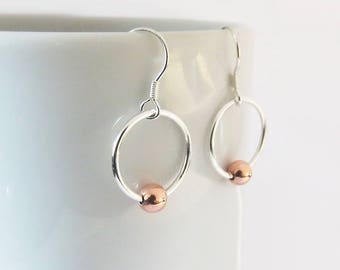 Mixed Metal Circle Earrings, Copper Ball Earrings, Minimalist Earrings, 925 Sterling Silver Dangle Earrings, Gift For Her, Handmade Jewelry