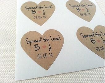Spread the Love Kraft Heart Stickers / Rustic Kraft Brown / Personalized Heart Stickers / Wedding Invitations