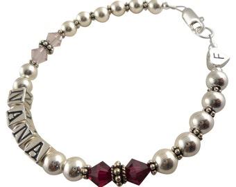 Grandma Bracelet - Amethyst Crystal birthstones/ choose colors -sterling silver- grandmother or nana or any personalization- grandchild name