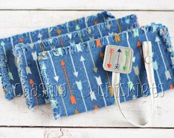 Baby Shower Gift Set // Navy Arrows Ragged Edge Burp Cloth // Arrow Pacifier Clip // Baby Burp Cloth Pacifier Clip