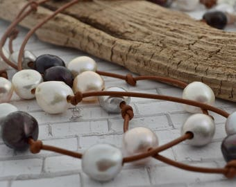 Knotted Pearl Necklace, Leather and Pearls, Large Freshwater Pearls, Baroque Pearl Necklace,  Mixed Color Pearl Necklace