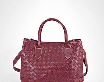 Leather handbag - burgundy leather bag - leather purse - leather crossbody bag - leather bag woman - woven leather bag - leather bags women
