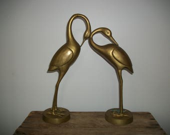 Vintage Pair of Large Solid Brass Cranes Crane Birds Herons Statues