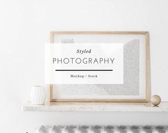 Horizontal Frame, frame mockup, wood frame, digital frame, mockup, white frame mockup, poster mockup