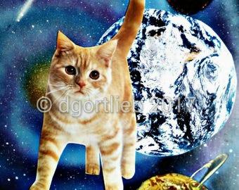 Framed 8 x 10 cat art print, cat wall art, cat art, cat print, pet art, cat lover gift, art for kids room,  cat art print,