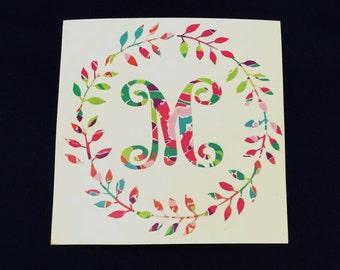 Monogram Decal - Lilly Monogram Decal - Vine Monogram Decal - Circle Monogram Decal - Sorority Gift - Big Little Gift