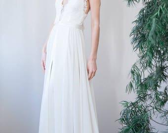 Anna || Backless handmade modern vintage wedding dress