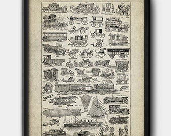 Vehicles · French Dictionary · Instant Download · Vintage · 1920s · Printable #191