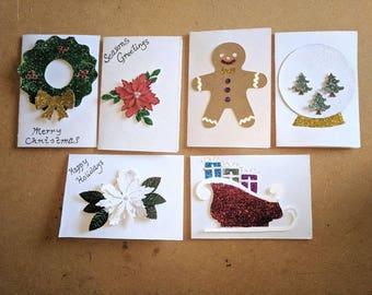 Christmas cards , card sets , Xmas card , Xmas card sets , cards , festive card sets , snow globe card, Xmas reef card, gingerbread man card
