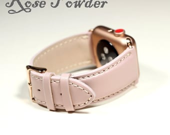 Rose Powder Apple Watch 42MM Band-Genuine Italian, Leather Strap-Made in Italy (also available for Apple Watch 38MM), Sensual Touch