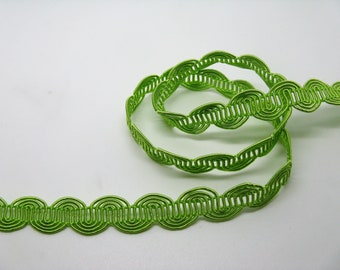 Light green serpentine stripe height 1.3 cm - ref 25 viscose/cotton blend