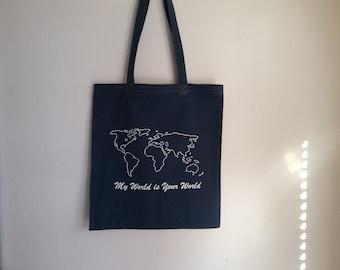 sturdy cotton shoulder bag, blue denim with printed, theme World