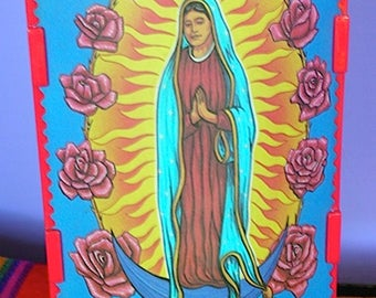 Vintage Virgin of Guadalupe Night Light with Parchment Cover and Extra Day of the Dead Wedding Couple Parchment Cover