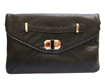 Faux Snack-Embossed Convertible Envelope Clutch