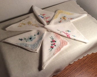 Hankies Vintage Handsewn Embroidery Cotton
