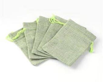 "10 Yellow Green Burlap Bags.  5.5"" x 4"".  Drawstring"
